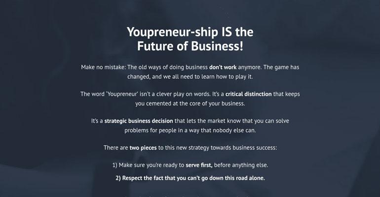 pagina web pentru comunitatea online Youpreneur 2